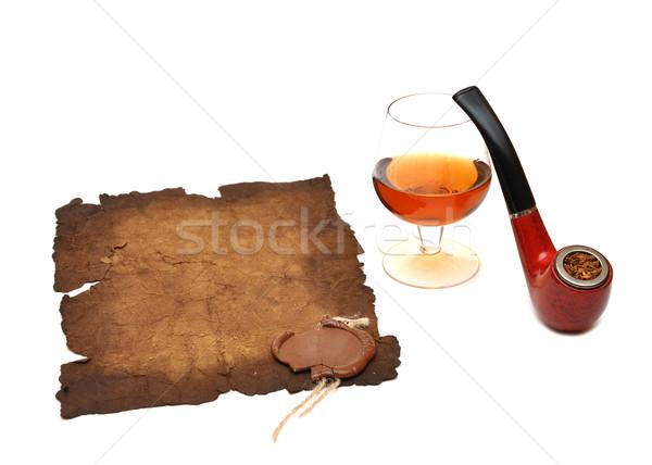 Vieux papier sceau cire pipe verre cognac Photo stock © inxti