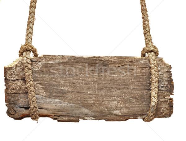 Vintage podpisania pokładzie starych liny odizolowany Zdjęcia stock © inxti