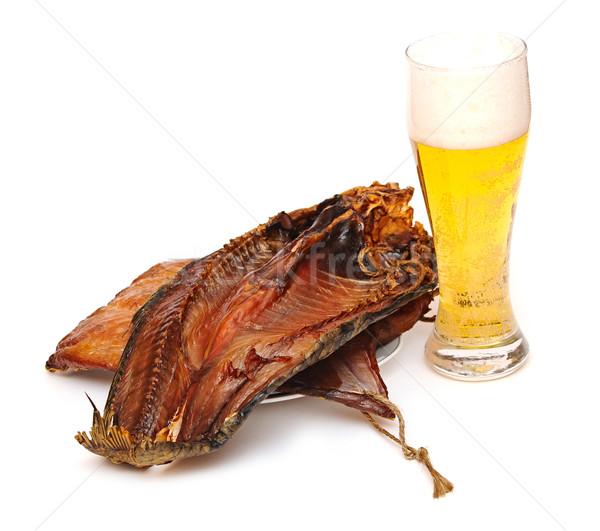 üveg világos sör hal fehér textúra sör Stock fotó © inxti