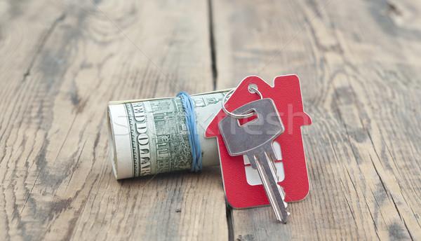 Haus Schlüssel hundert Dollar Banknoten Holz Stock foto © inxti