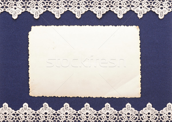 Retro background or greeting card with old photo and lacy border Stock photo © inxti