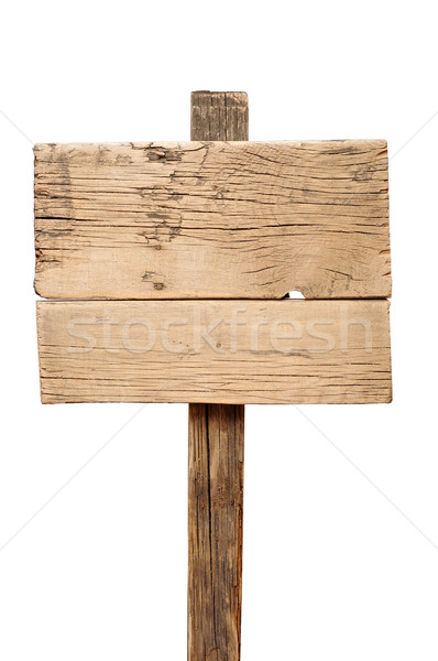 Old wooden signpost isolated on white Stock photo © inxti