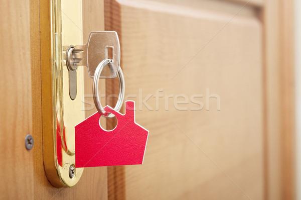 Foto d'archivio: Simbolo · casa · stick · chiave · serratura · legno