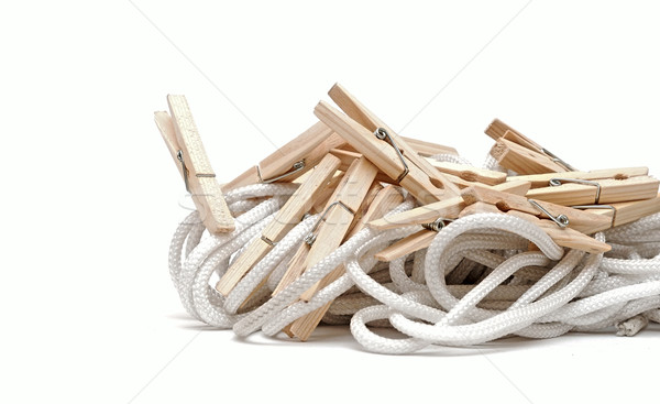 clothespins on rope Stock photo © inxti