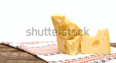 piece of cheese on a wooden  table Stock photo © inxti