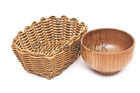empty basket and bowl isolated on white background Stock photo © inxti