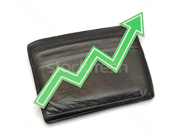 Bar graph of growth on black wallet Stock photo © inxti