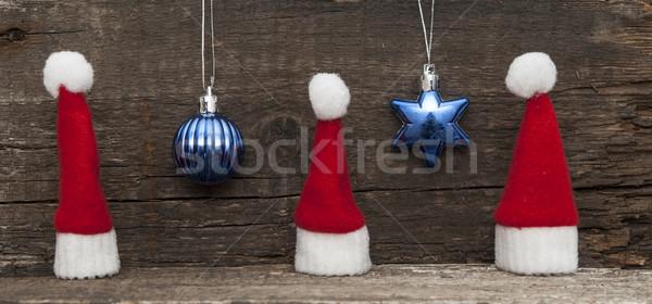 Noel tatil şapka süslemeleri dekorasyon Stok fotoğraf © inxti