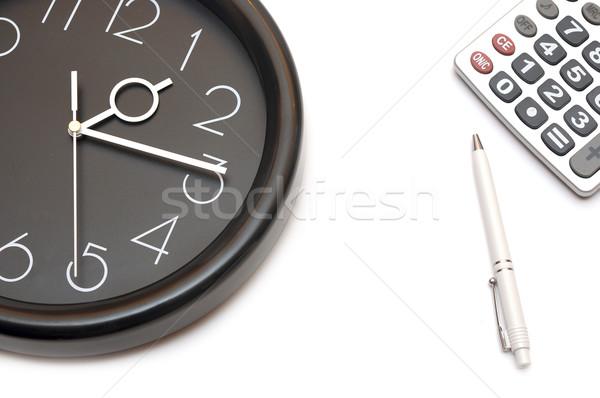 Muur klok calculator witte business kantoor Stockfoto © inxti