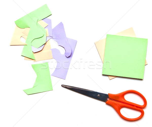 folding colored leaves and a scissor  Stock photo © inxti