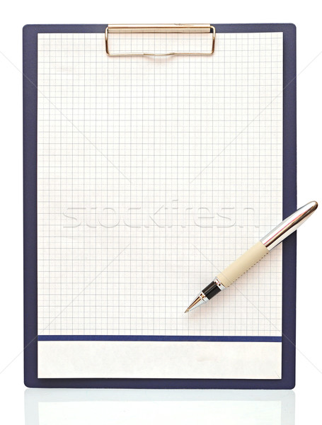 Clipboard with blank paper and pen on a white background  Stock photo © inxti