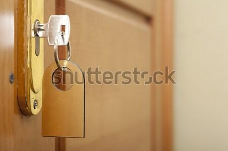 Anahtar anahtar deliği etiket ahşap dizayn arka plan Stok fotoğraf © inxti