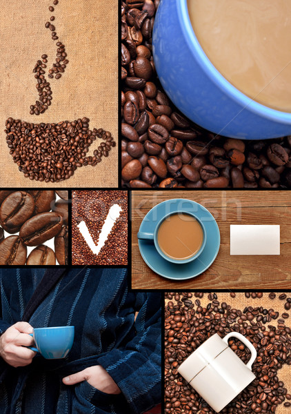 Cup from coffee on coffee grains Stock photo © inxti
