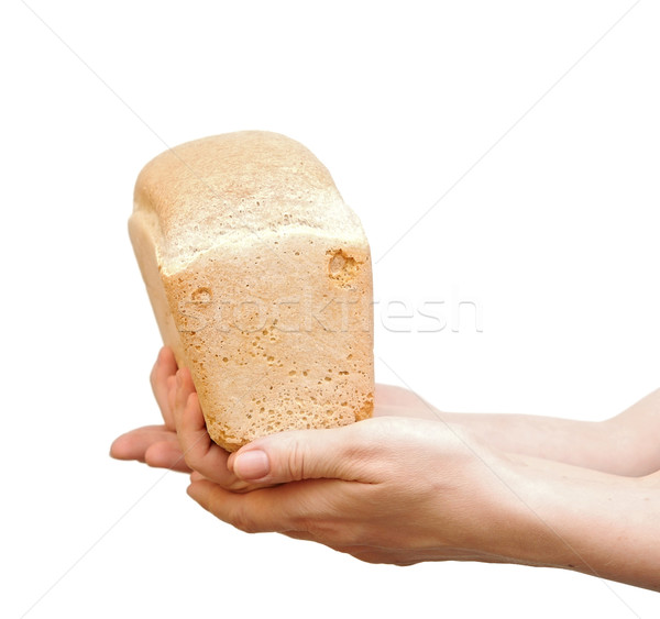 loaf of bread in children hand over white background Stock photo © inxti