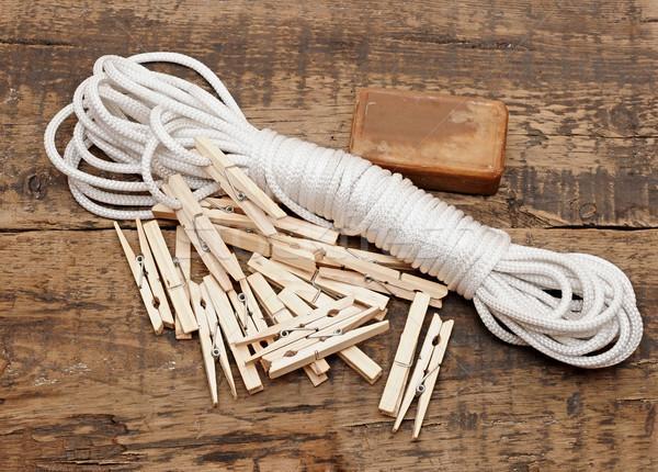 Stockfoto: Zeep · touw · rustiek · tabel · hout · vintage