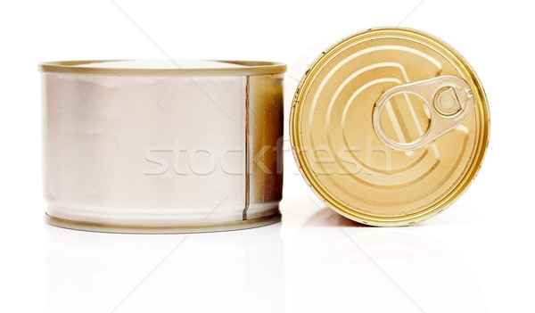 A pile of tinned foods with no labels on white background Stock photo © inxti
