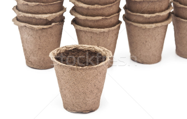pile peat pots for growing seedlings, isolated on white backgrou Stock photo © inxti