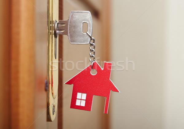 Zdjęcia stock: Symbol · domu · Stick · kluczowych · dziurka · drewna