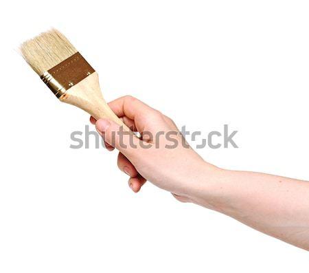 Kadın boyama duvar fırçalamak ahşap çalışmak Stok fotoğraf © inxti