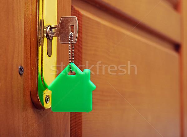 Chave trancar casa ícone edifício casa Foto stock © inxti
