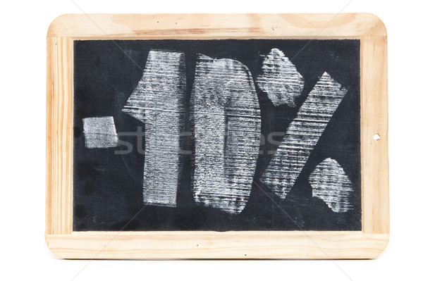 Ten percent written on blackboard over white background Stock photo © inxti