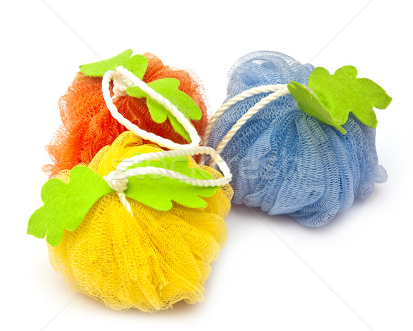 colorful soft bath puffs on white background Stock photo © inxti