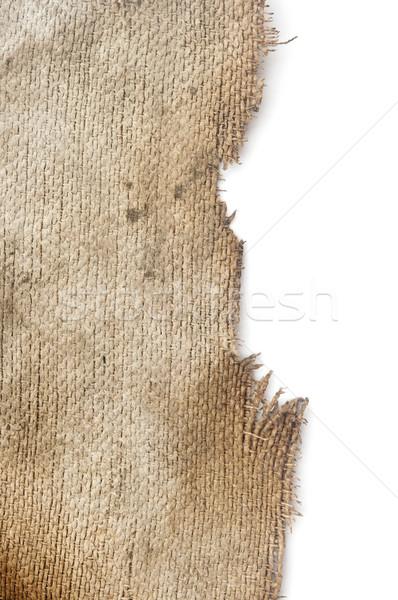 isolated of yellowed burnt burlap at white background.  Stock photo © inxti