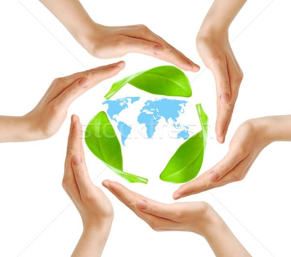 Foto stock: Feminino · mãos · mapa · do · mundo · branco · segurança · símbolo