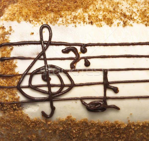 appetizing cake with treble clef drawing by cream Stock photo © inxti