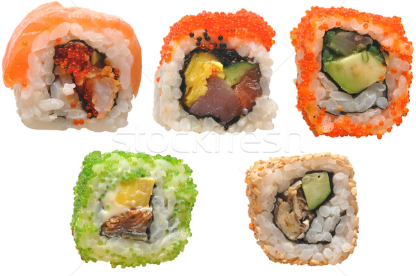 Foto stock: Sushi · isolado · branco · comida · peixe · fundo