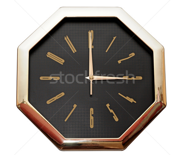 golden wall clock isolated on white Stock photo © inxti