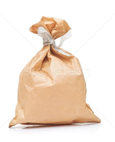 Papel pardo almoço saco prata fita branco Foto stock © inxti