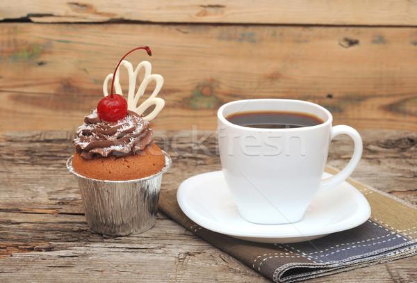 ストックフォト: チョコレート · クリーム · 桜 · 古い · 木製