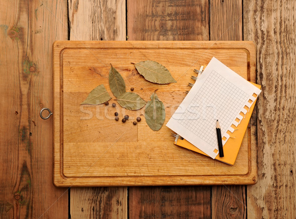 notebook for recipes and spices on wooden table Stock photo © inxti