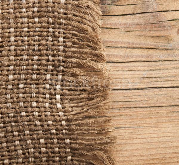 Zsákvászon textúra fa asztal fa terv szövet Stock fotó © inxti