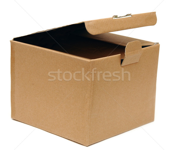 Zdjęcia stock: Otwarte · karton · biały · papieru · tle · studio