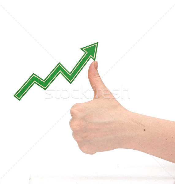 hand tracing a rising graph symbol for business growth  Stock photo © inxti
