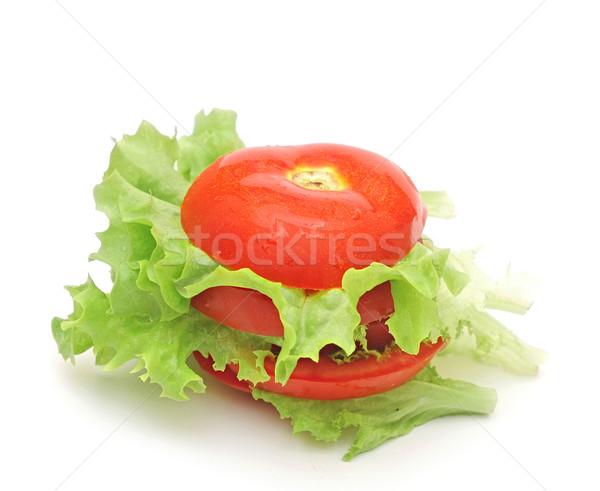 fresh tomato with fresh lettuces salad isolated on white backgro Stock photo © inxti