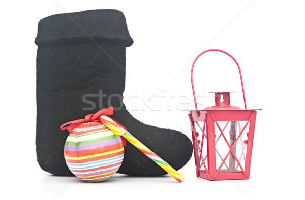 Russian traditional winter felt boot valenki and christmas decor Stock photo © inxti