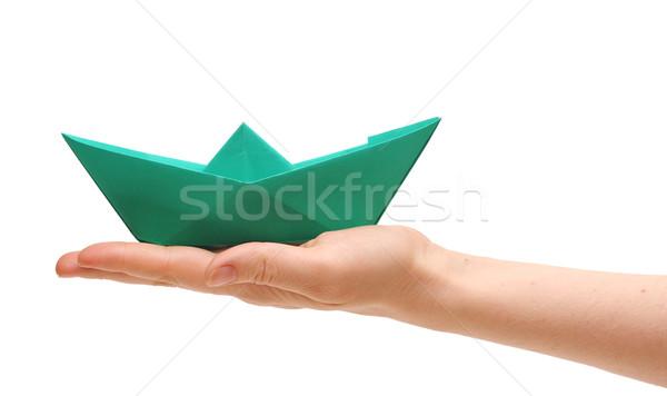 Stockfoto: Papier · schip · vrouwelijke · hand · witte · vrouw