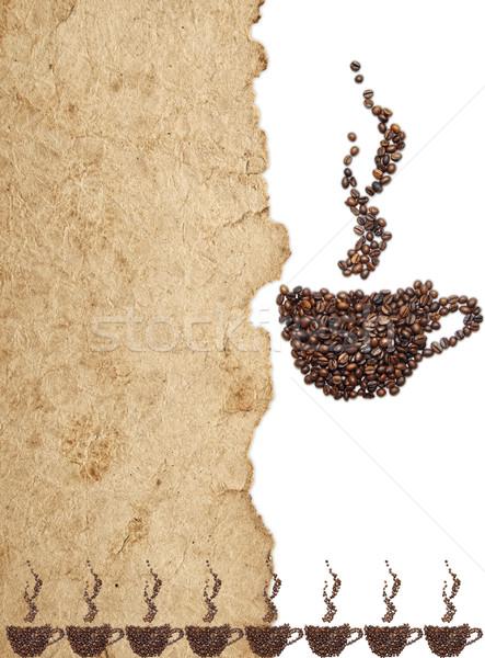 Granos de café pergamino papel espacio texto alimentos Foto stock © inxti