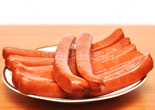 close up plate of sausages Stock photo © inxti
