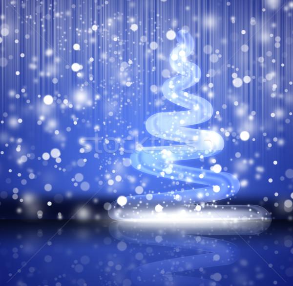 Сток-фото: рождественская · елка · дерево · фон · синий · цвета · графических