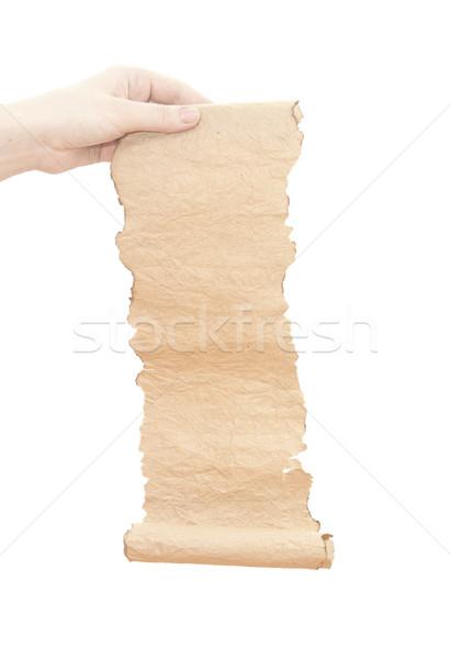 Régi papír tekercs nő kéz izolált fehér Stock fotó © inxti