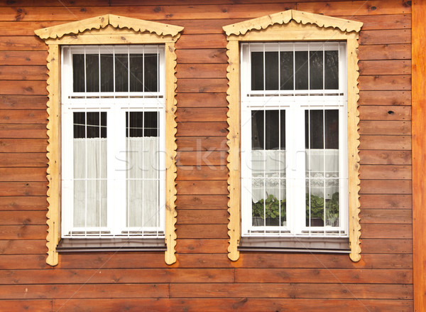 white window on red wooden wall  Stock photo © inxti