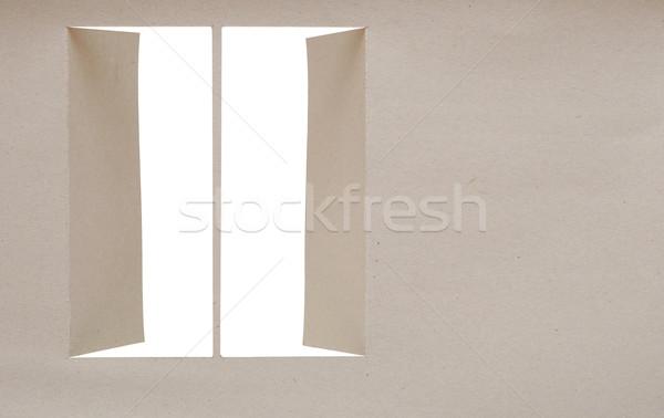 Grijs karton opening venster papier textuur Stockfoto © inxti