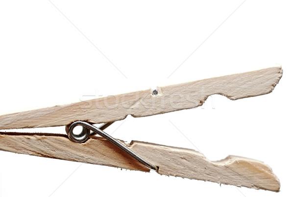 Stockfoto: Houten · kleding · pin · witte · achtergrond · kabel