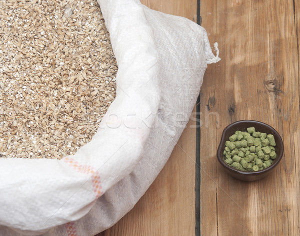 Barley beans. Grains of malt close-up. Food and agriculture conc Stock photo © inxti