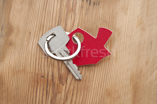 Szimbólum ház ezüst kulcs klasszikus fából készült Stock fotó © inxti