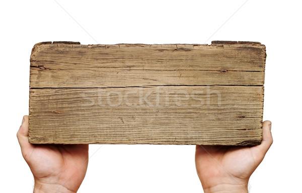 Stock fotó: Fa · deszka · felirat · kéz · izolált · fehér · fekete